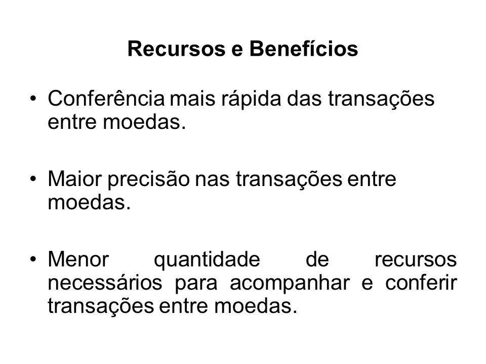 Recursos e Benefícios Conferência mais rápida das transações entre moedas. Maior precisão nas transações entre moedas.