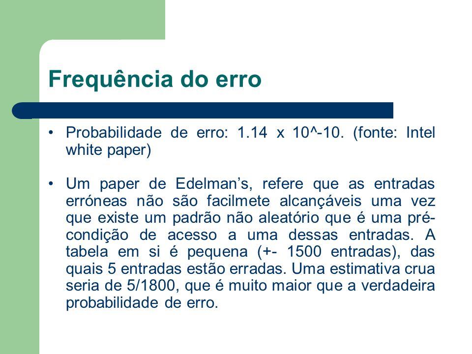 Frequência do erro Probabilidade de erro: 1.14 x 10^-10. (fonte: Intel white paper)