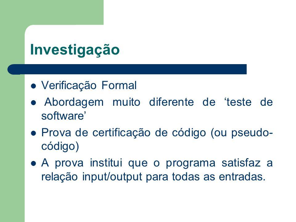 Investigação Verificação Formal