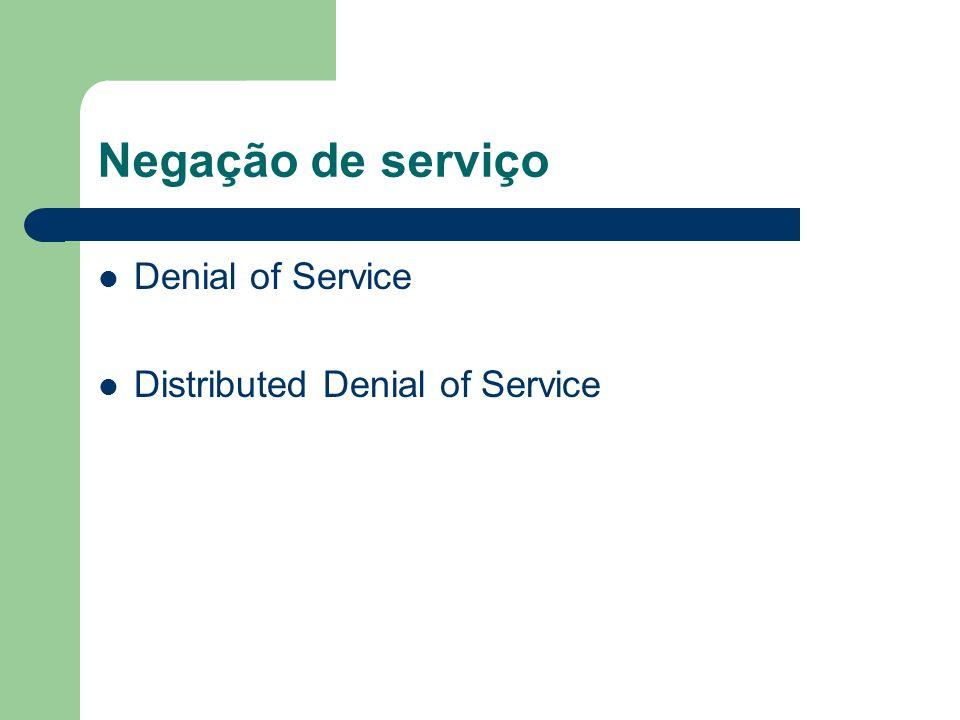Negação de serviço Denial of Service Distributed Denial of Service