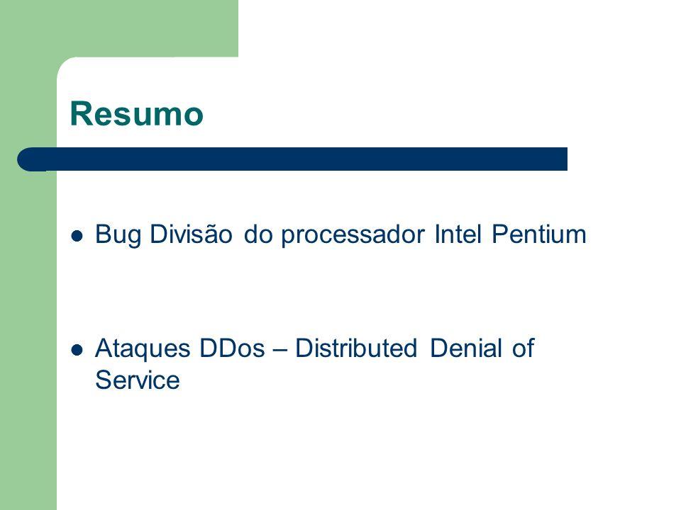 Resumo Bug Divisão do processador Intel Pentium