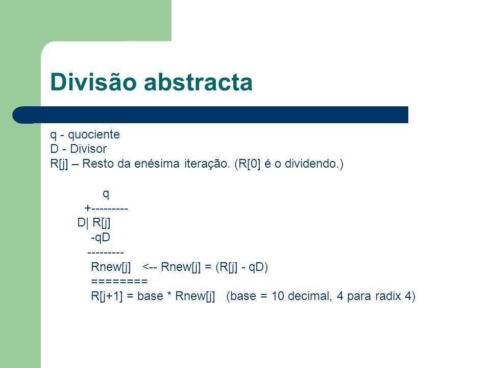 Divisão abstracta q - quociente D - Divisor