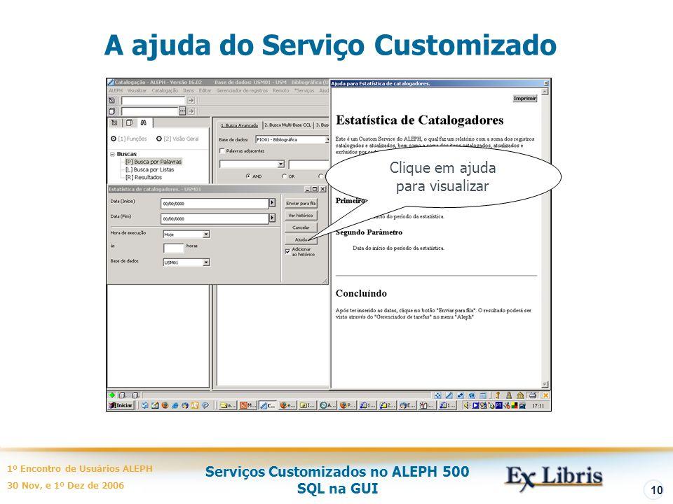 A ajuda do Serviço Customizado