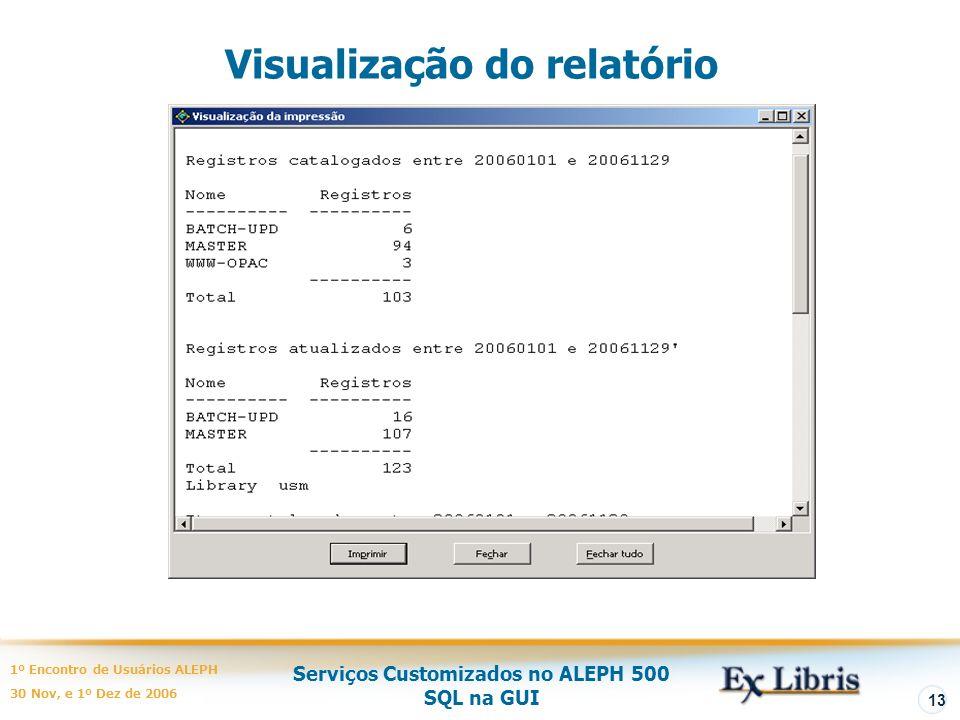 Visualização do relatório