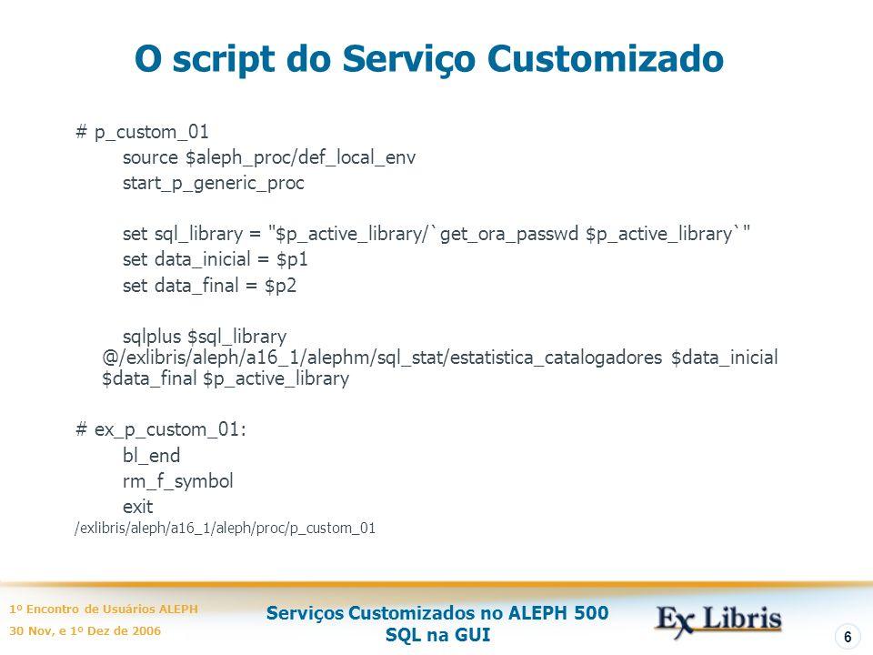 O script do Serviço Customizado