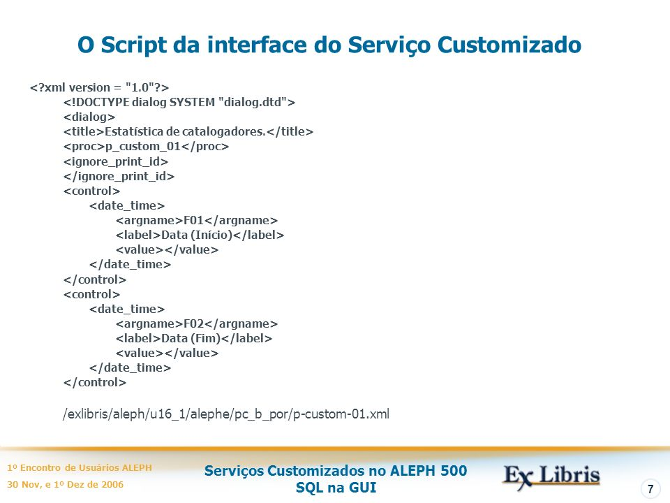 O Script da interface do Serviço Customizado