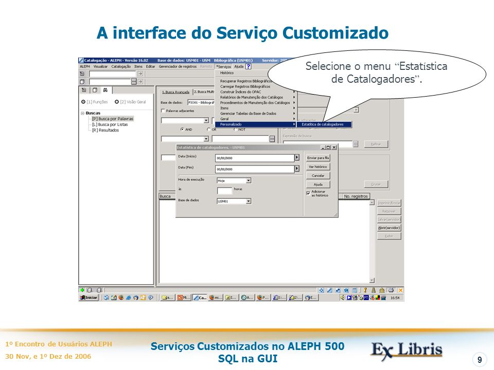 A interface do Serviço Customizado