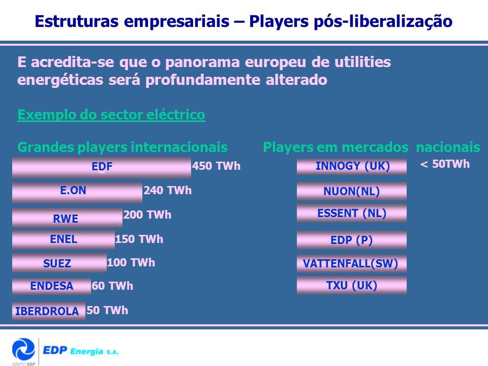 Estruturas empresariais – Players pós-liberalização