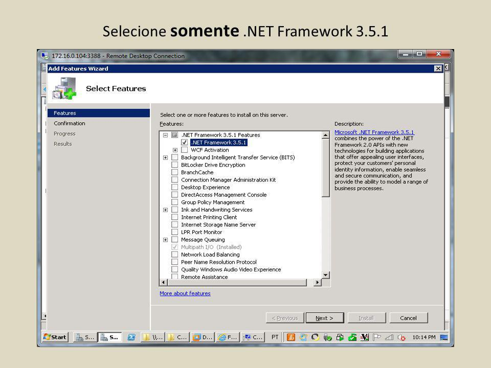 Selecione somente .NET Framework 3.5.1