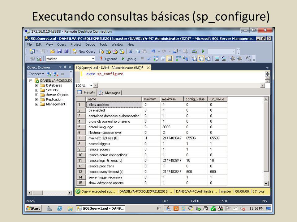 Executando consultas básicas (sp_configure)