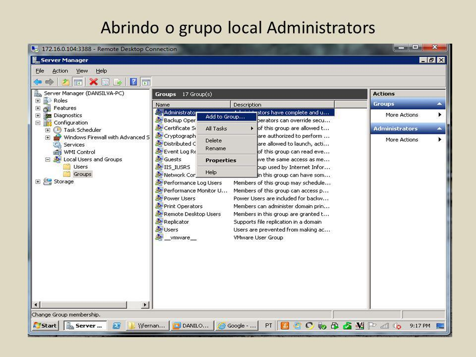 Abrindo o grupo local Administrators
