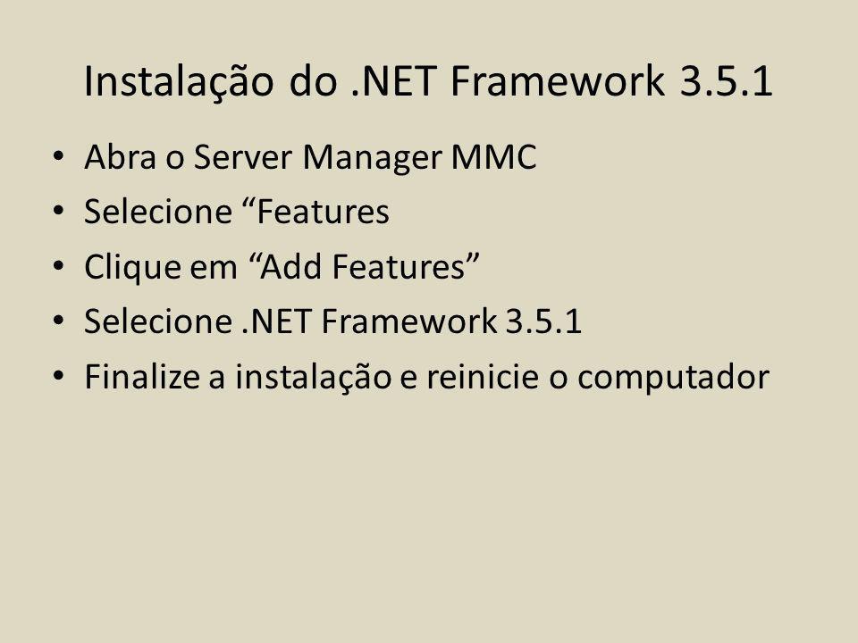 Instalação do .NET Framework 3.5.1