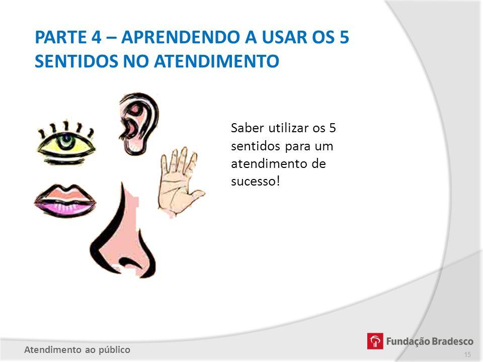 PARTE 4 – APRENDENDO A USAR OS 5 SENTIDOS NO ATENDIMENTO