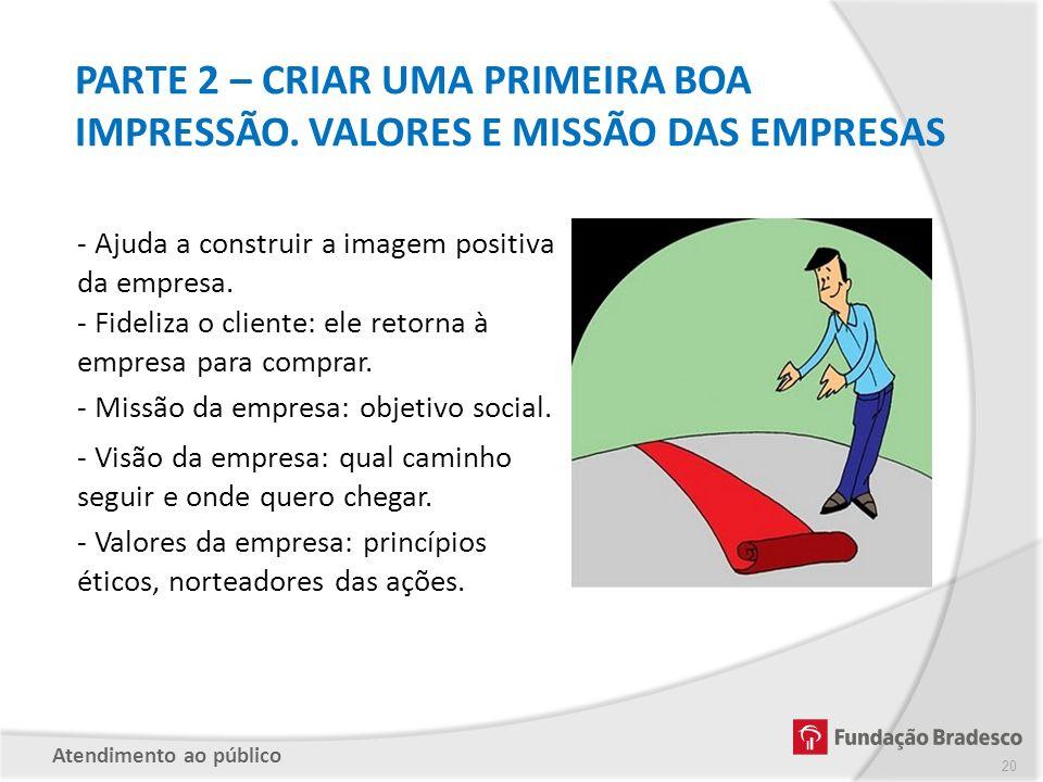 PARTE 2 – CRIAR UMA PRIMEIRA BOA IMPRESSÃO