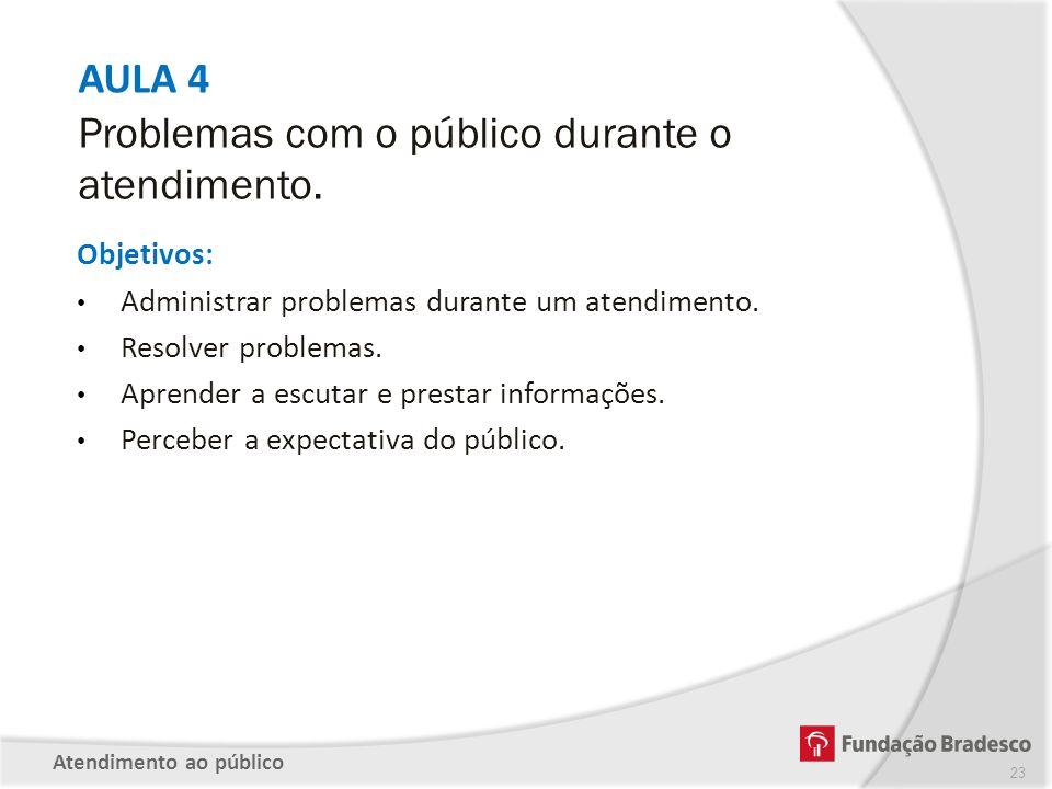 AULA 4 Problemas com o público durante o atendimento.