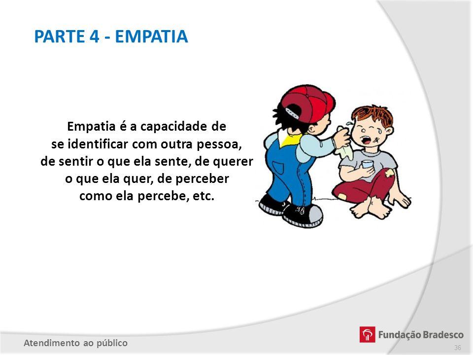 PARTE 4 - EMPATIA Empatia é a capacidade de