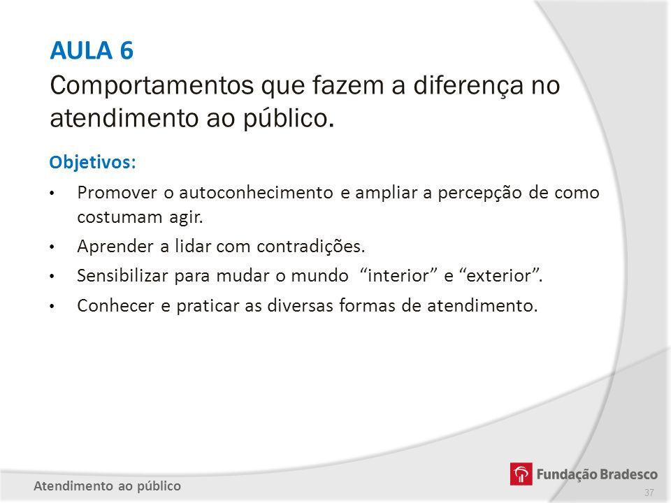 AULA 6 Comportamentos que fazem a diferença no atendimento ao público.