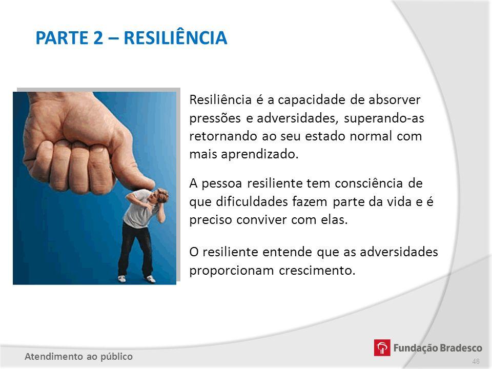PARTE 2 – RESILIÊNCIA Resiliência é a capacidade de absorver