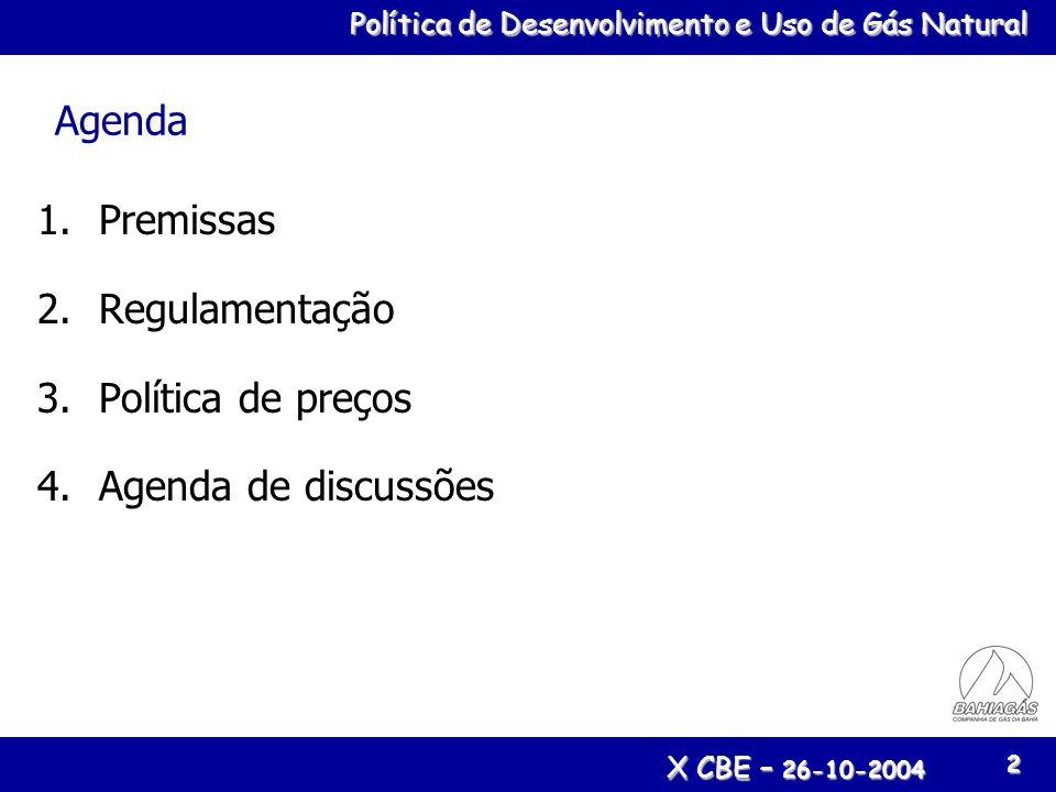 Agenda Premissas Regulamentação Política de preços Agenda de discussões