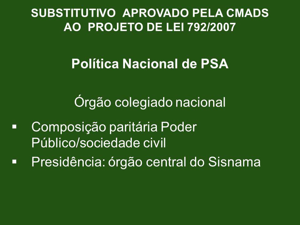 SUBSTITUTIVO APROVADO PELA CMADS Política Nacional de PSA