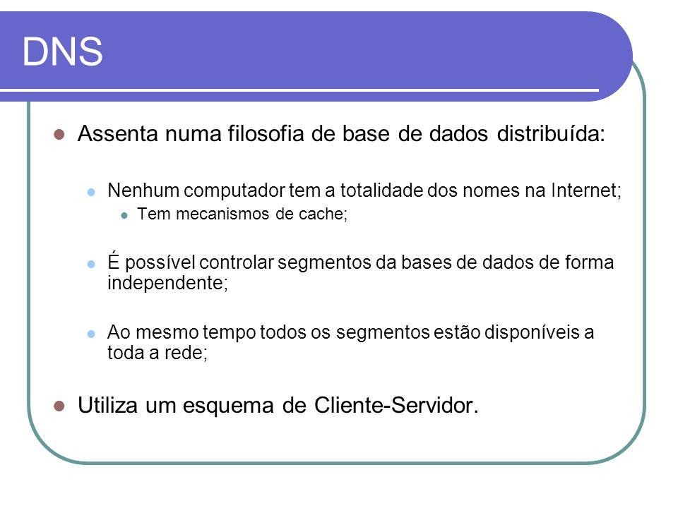 DNS Assenta numa filosofia de base de dados distribuída: