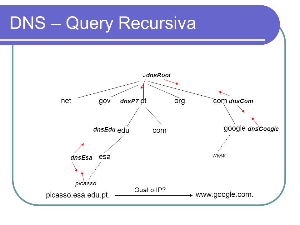 DNS – Query Recursiva . net gov pt org com google edu com esa