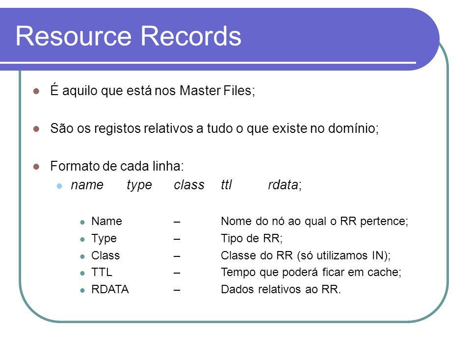 Resource Records É aquilo que está nos Master Files;