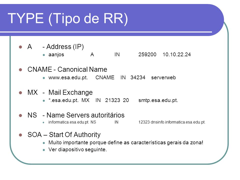 TYPE (Tipo de RR) A - Address (IP) CNAME - Canonical Name