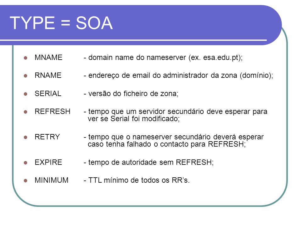 TYPE = SOA MNAME - domain name do nameserver (ex. esa.edu.pt);