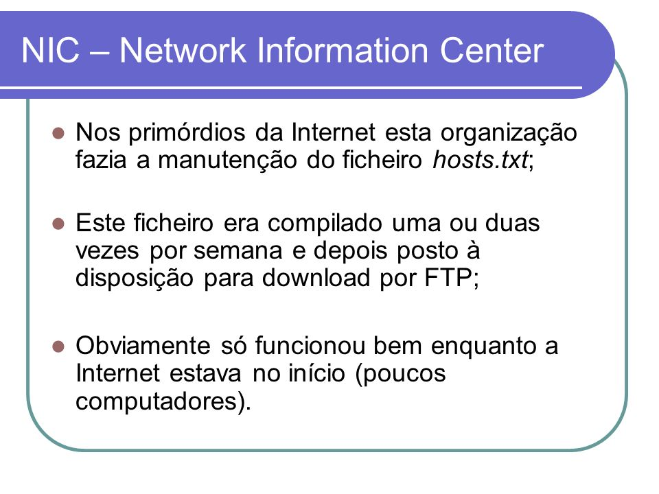 NIC – Network Information Center