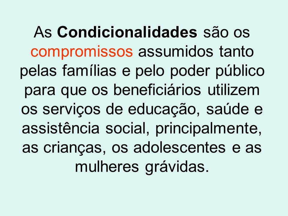 As Condicionalidades são os compromissos assumidos tanto pelas famílias e pelo poder público para que os beneficiários utilizem os serviços de educação, saúde e assistência social, principalmente, as crianças, os adolescentes e as mulheres grávidas.