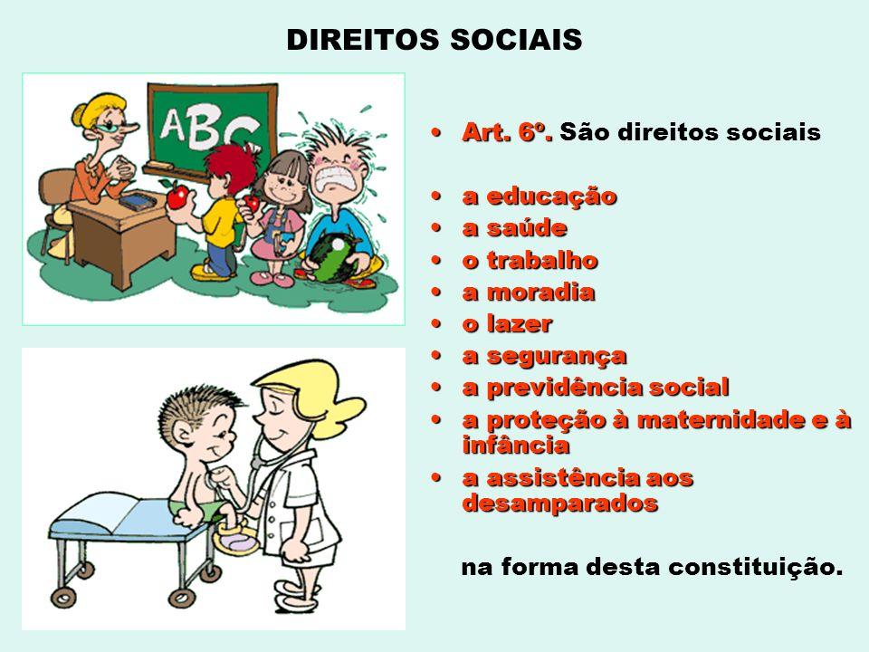 DIREITOS SOCIAIS Art. 6º. São direitos sociais a educação a saúde
