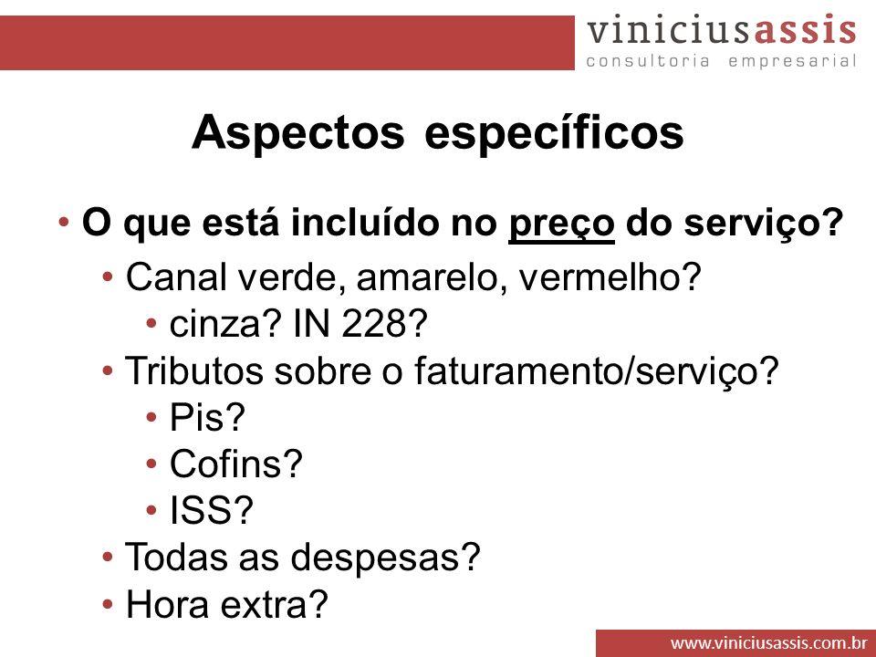 Aspectos específicos O que está incluído no preço do serviço