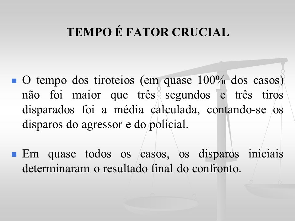 TEMPO É FATOR CRUCIAL
