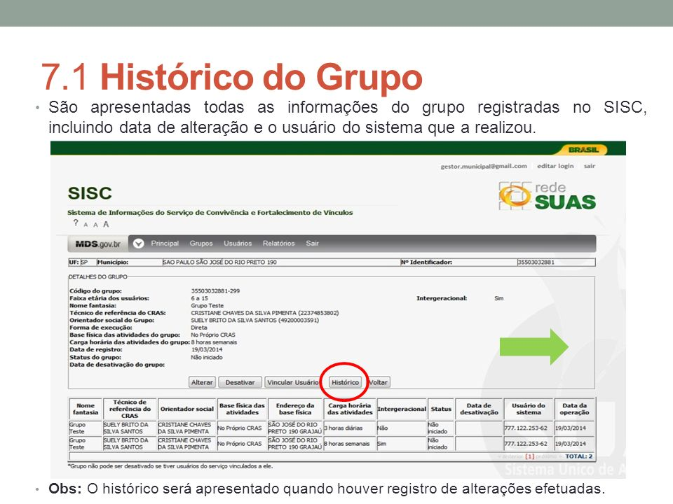 7.1 Histórico do Grupo