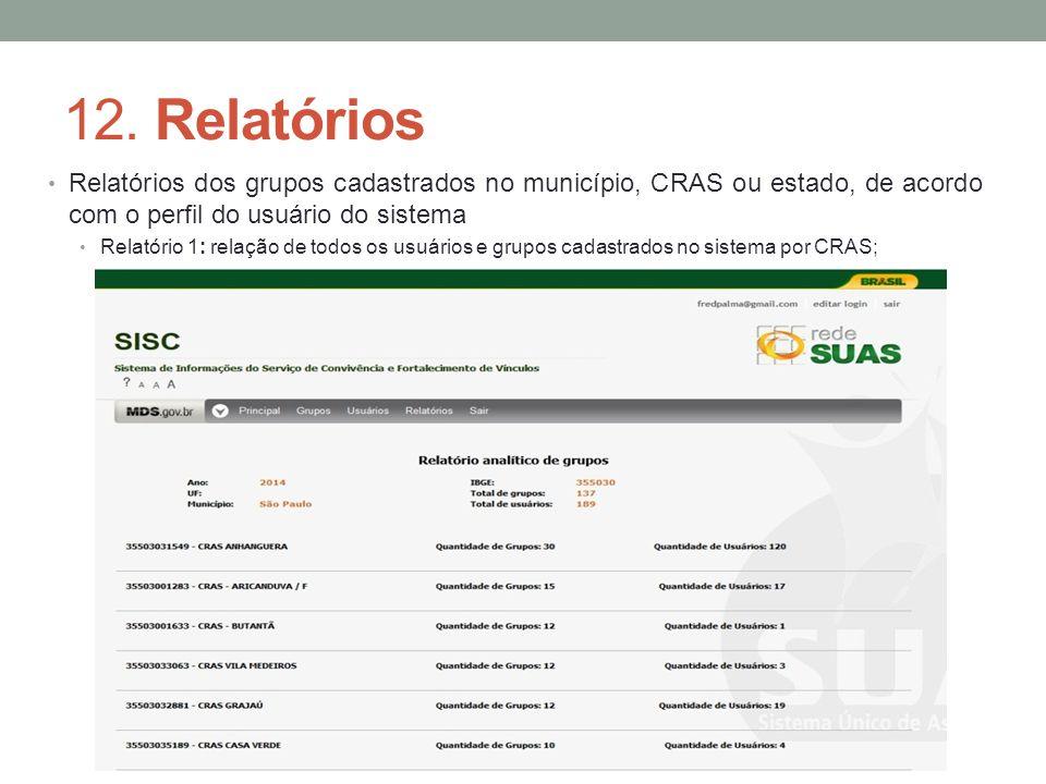 12. Relatórios Relatórios dos grupos cadastrados no município, CRAS ou estado, de acordo com o perfil do usuário do sistema.