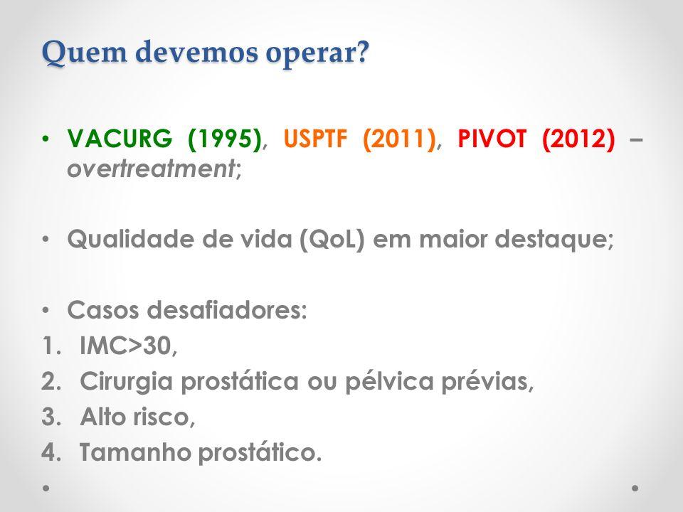 Quem devemos operar VACURG (1995), USPTF (2011), PIVOT (2012) – overtreatment; Qualidade de vida (QoL) em maior destaque;