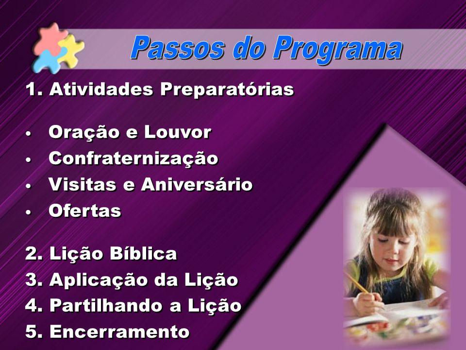 Passos do Programa 1. Atividades Preparatórias Oração e Louvor