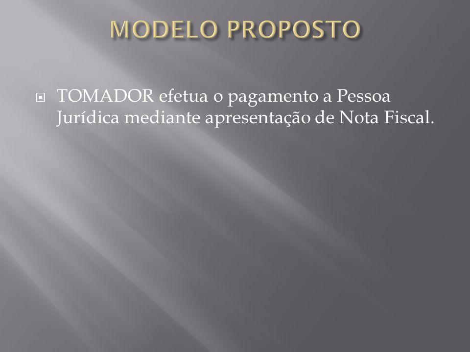 MODELO PROPOSTO TOMADOR efetua o pagamento a Pessoa Jurídica mediante apresentação de Nota Fiscal.