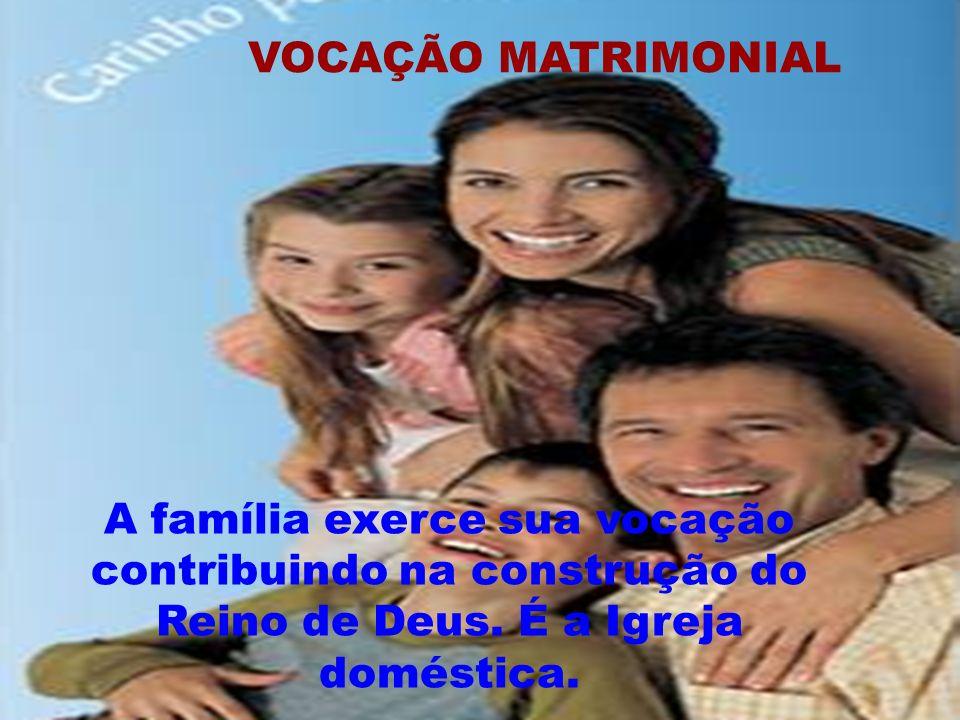 VOCAÇÃO MATRIMONIAL A família exerce sua vocação contribuindo na construção do Reino de Deus.