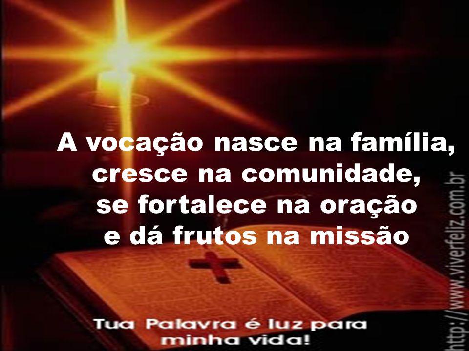 A vocação nasce na família, cresce na comunidade, se fortalece na oração e dá frutos na missão