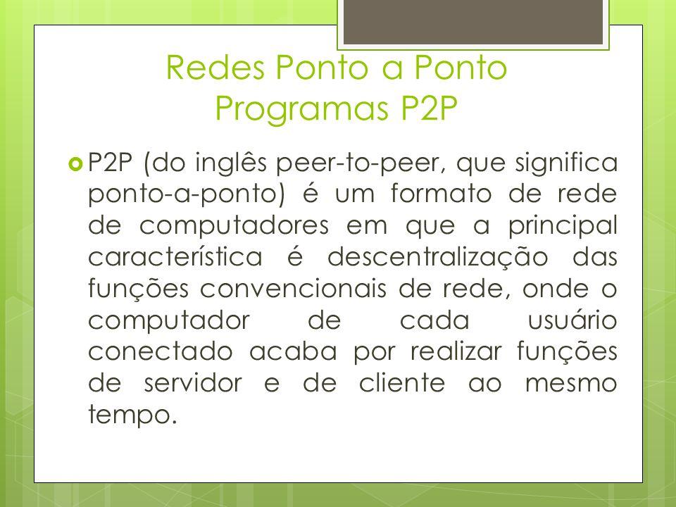 Redes Ponto a Ponto Programas P2P