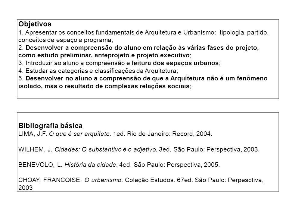 Objetivos Bibliografia básica