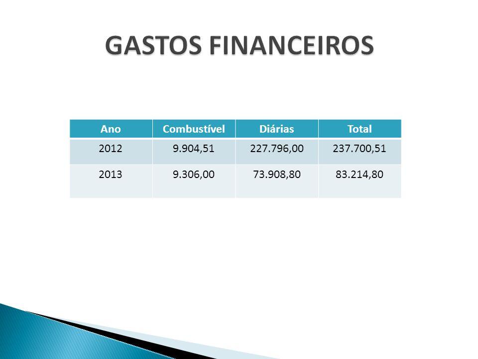 GASTOS FINANCEIROS Ano Combustível Diárias Total 2012 9.904,51