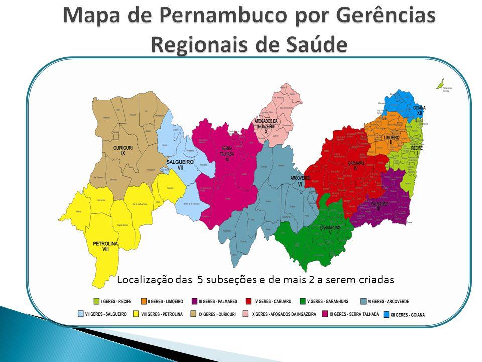 Mapa de Pernambuco por Gerências Regionais de Saúde
