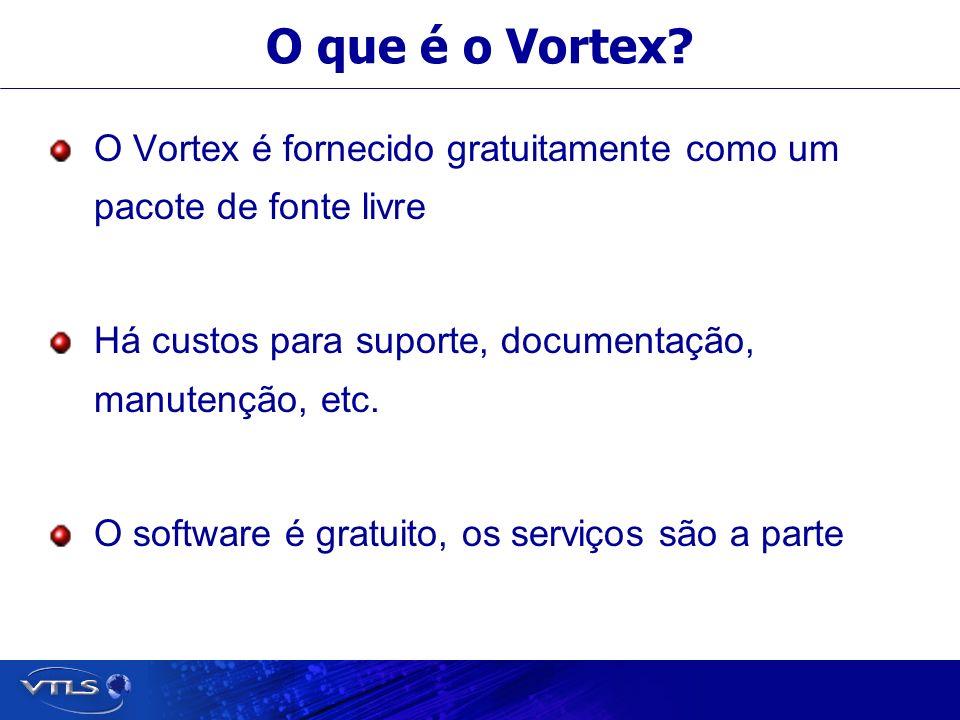 O que é o Vortex O Vortex é fornecido gratuitamente como um pacote de fonte livre. Há custos para suporte, documentação, manutenção, etc.
