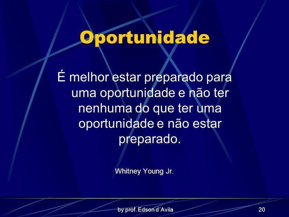 Oportunidade É melhor estar preparado para uma oportunidade e não ter nenhuma do que ter uma oportunidade e não estar preparado.