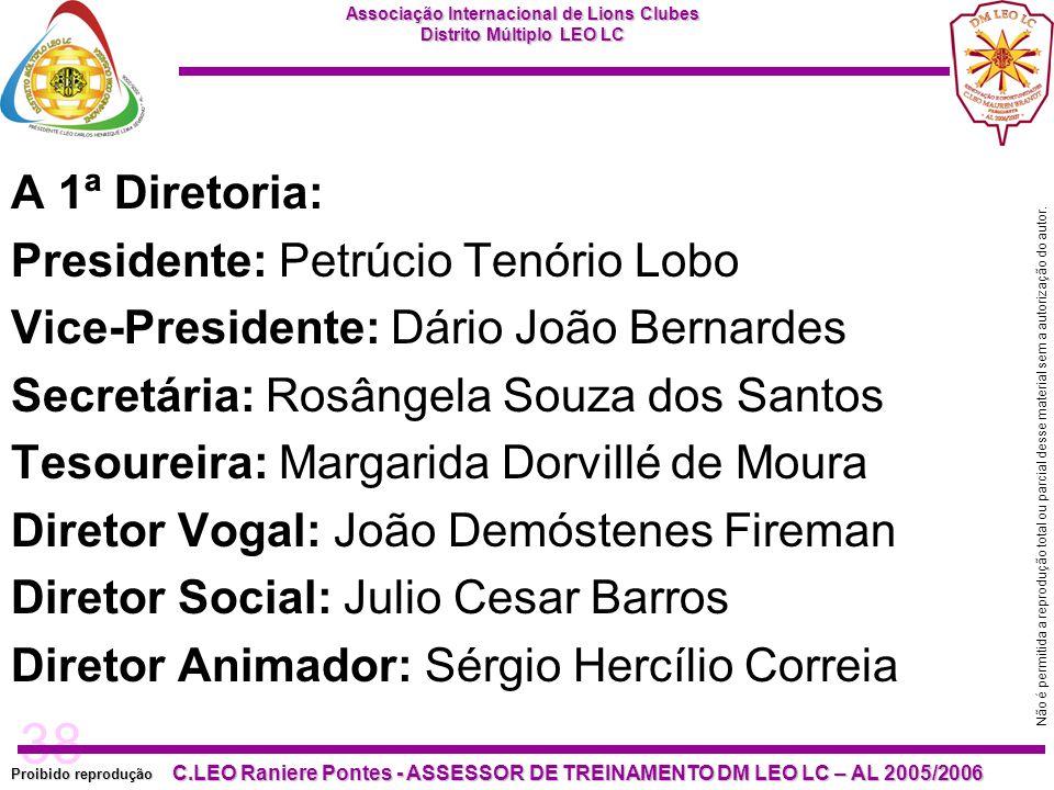 A 1ª Diretoria: Presidente: Petrúcio Tenório Lobo. Vice-Presidente: Dário João Bernardes. Secretária: Rosângela Souza dos Santos.