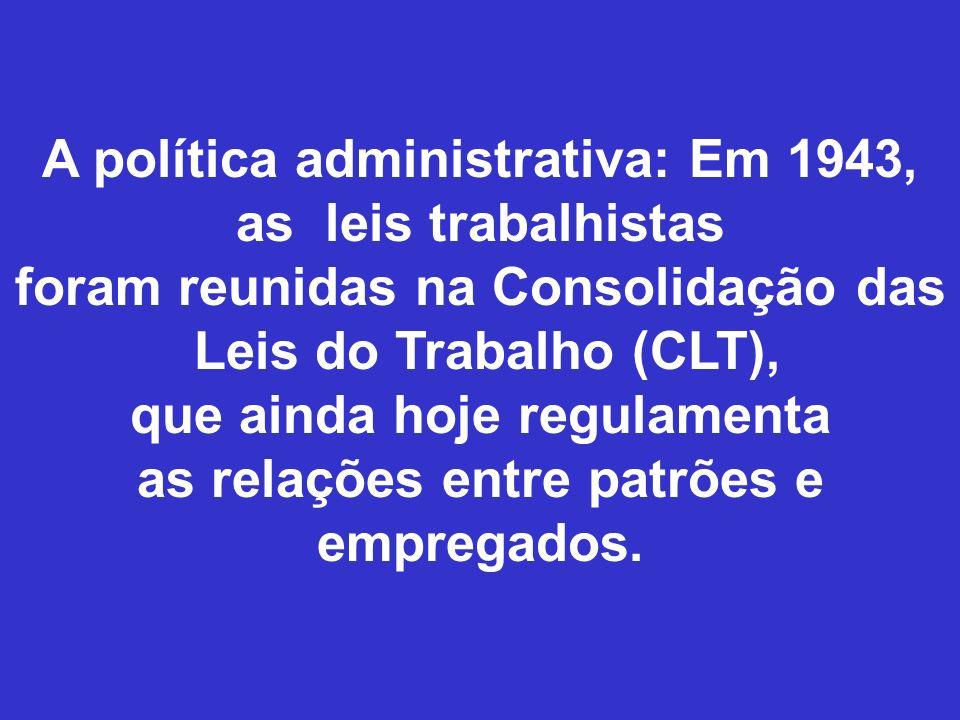 A política administrativa: Em 1943, as leis trabalhistas