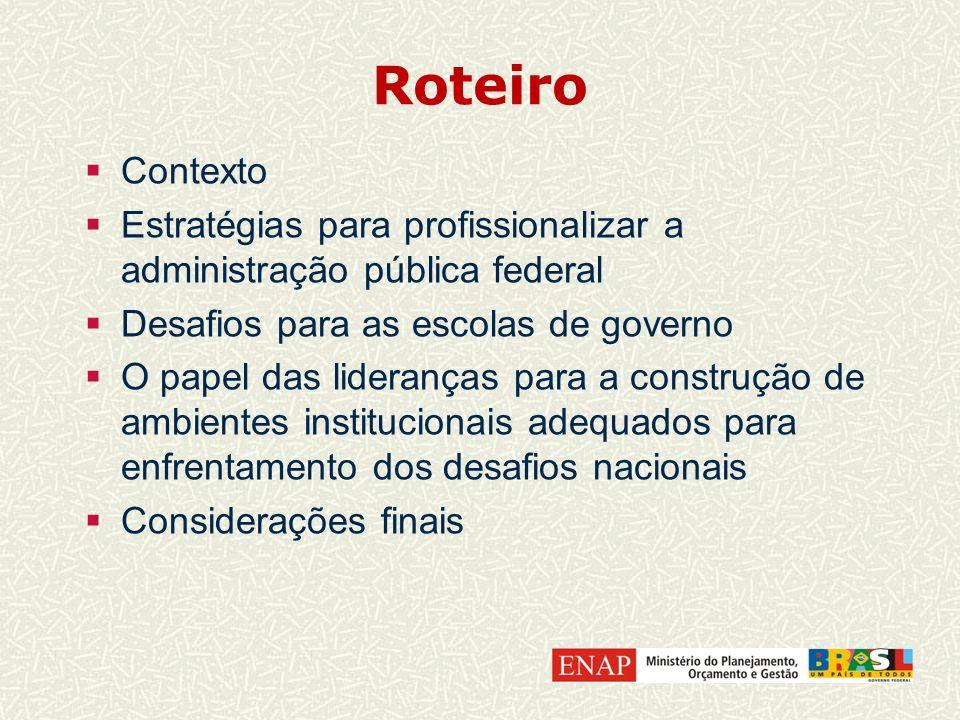 Roteiro Contexto. Estratégias para profissionalizar a administração pública federal. Desafios para as escolas de governo.